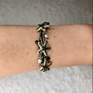 💎BOGO FREE! Black & gold beaded starfish bracelet